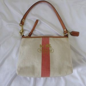 Coach Heritage Coral Stripe Canvas Shoulder Bag